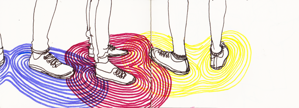 Illustration showing feet with aura lines around them.