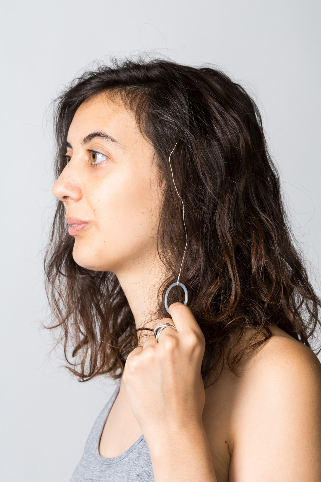 Portrait photo of the ring antenna on a woman