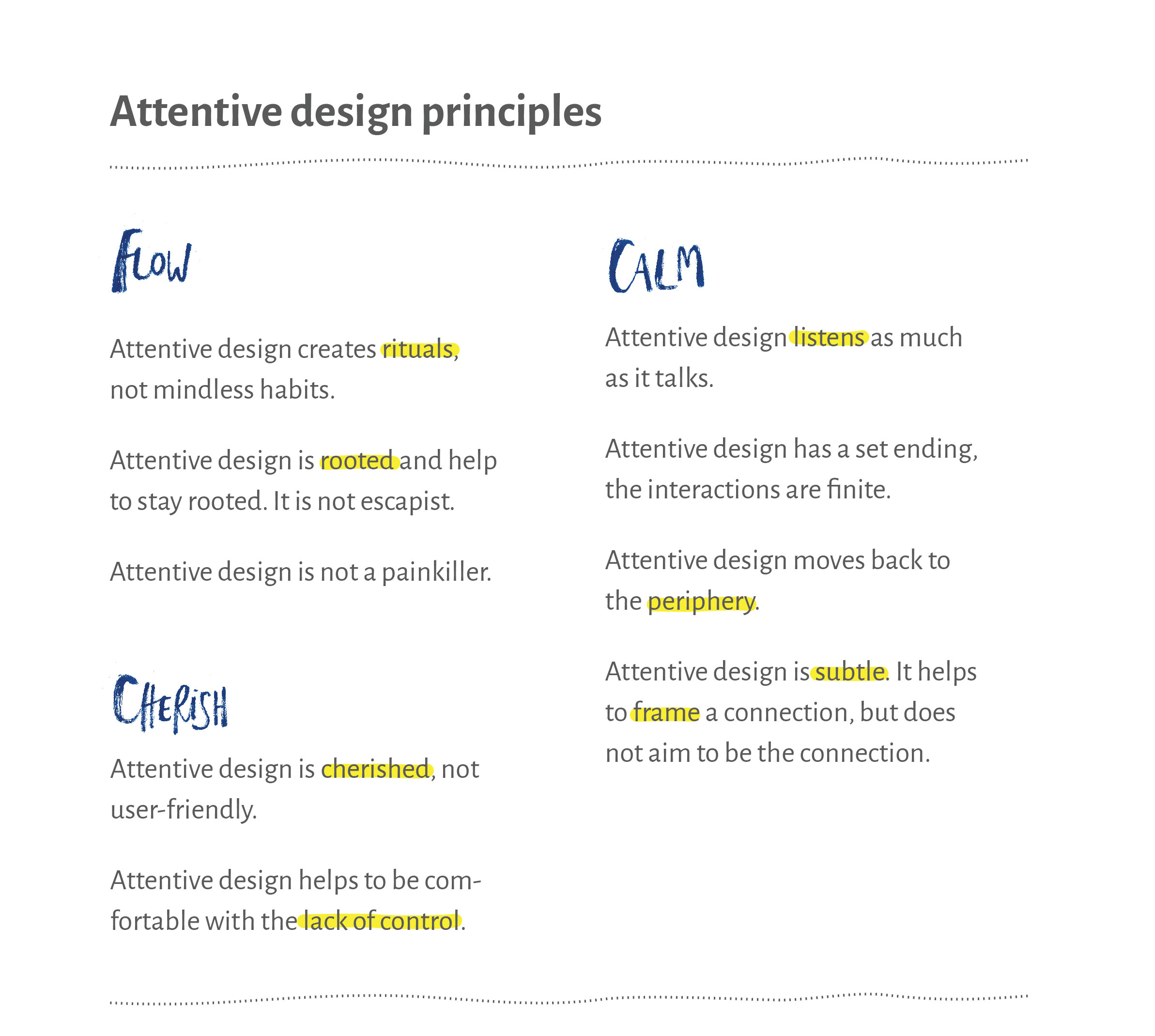 Attentive design principles