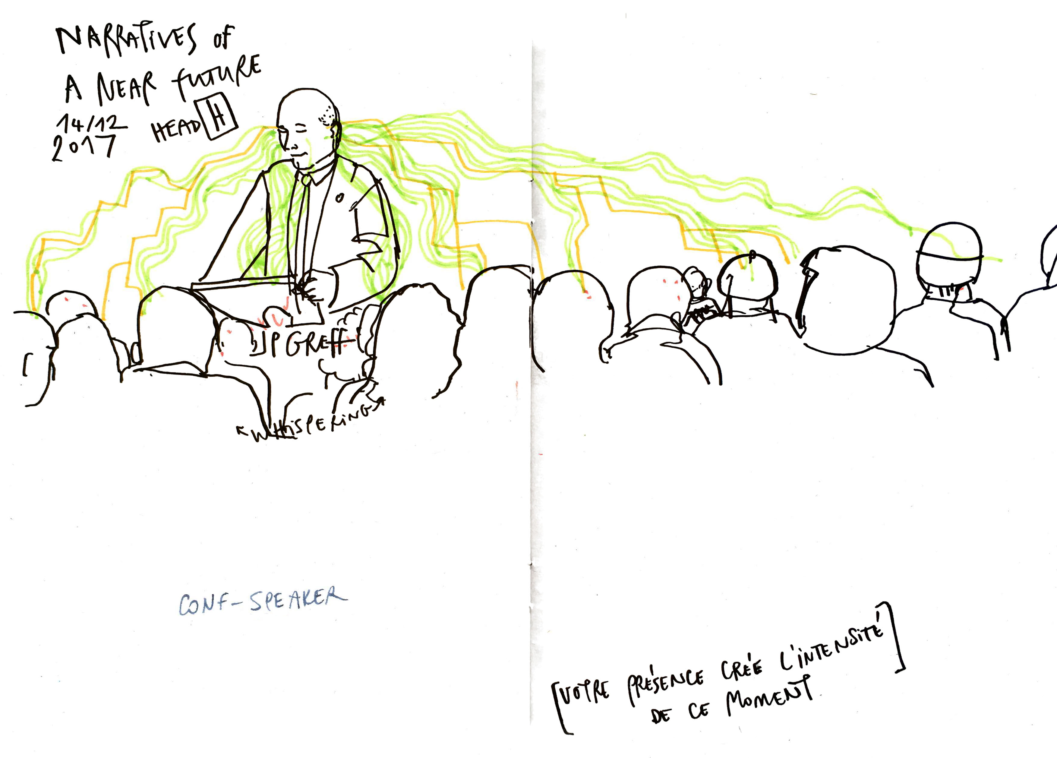 Drawing of a speaker and his audience at the conference with lines of attention