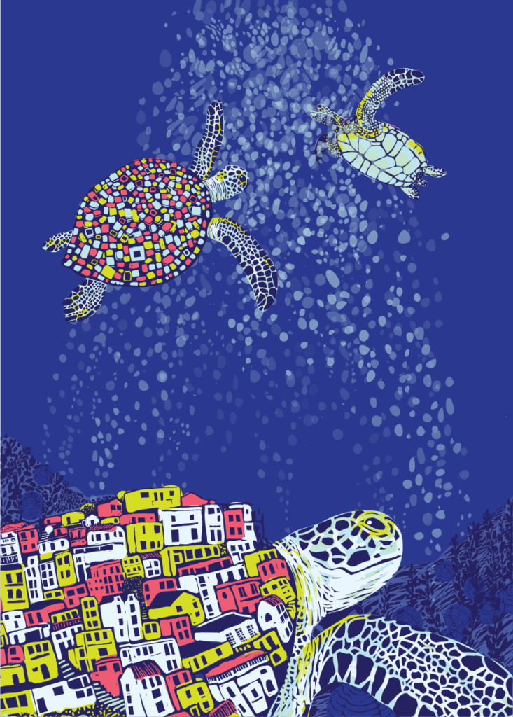 Illustration of giant sea turtles carrying entire cities on their shells underwater.