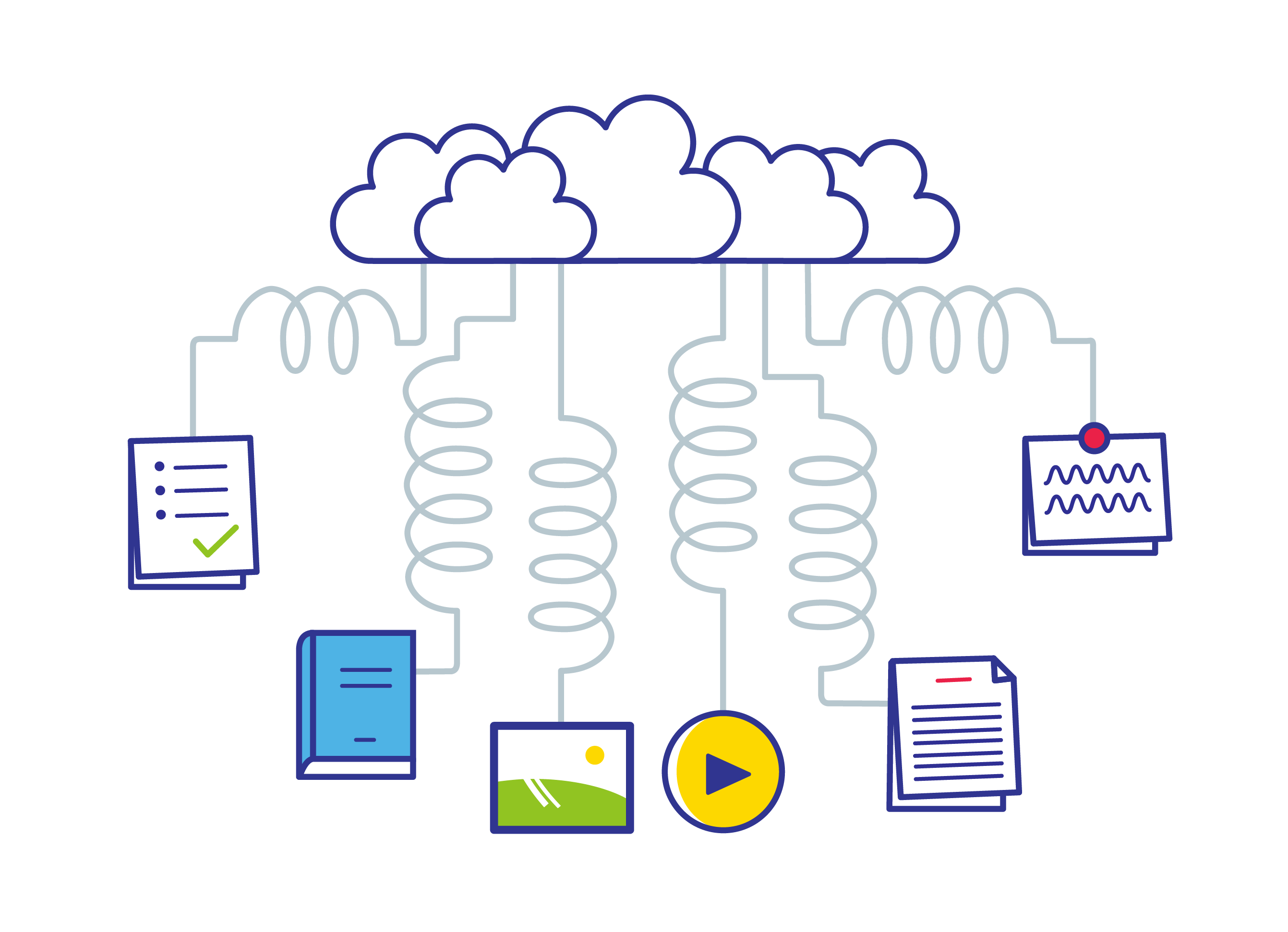 icon set - illustration about a digital cloud